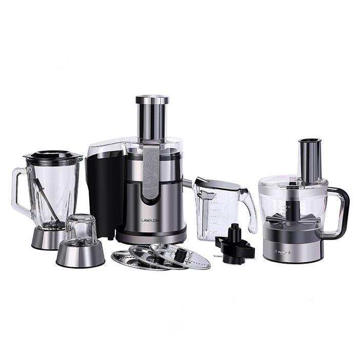 8-in1 Digital Electric Stainless Steel & Glass 5-Speed Food Processor, Blender & Juicer 800W
