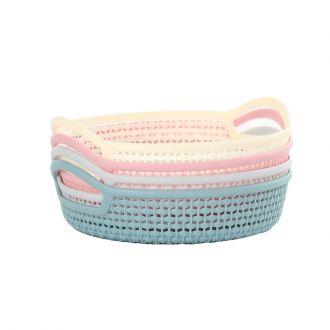 4-Piece Round Plastic Fruit Basket