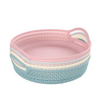 4-Piece Round Plastic Food Basket
