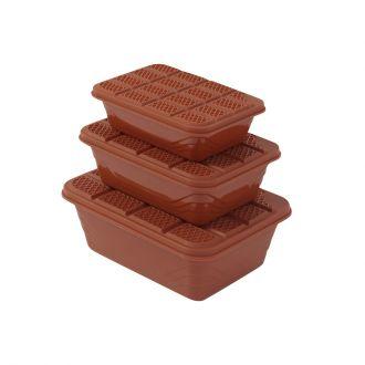 3-Piece Plastic Container Storage Box Set Brown