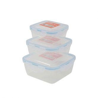 3-Piece Plastic Airtight Container Storage Box Set