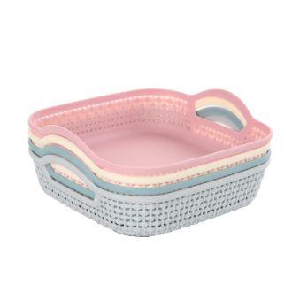 4-Piece Rectangular Plastic Storage Basket Set Multicolour