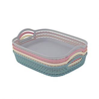 4-Piece Rectangular Plastic Fruit Basket Multicolour