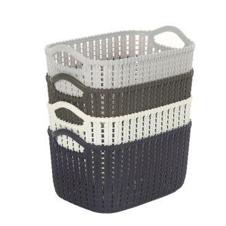4-Piece Rectangular Plastic Storage Basket Set Multicolour 24x17x12cm